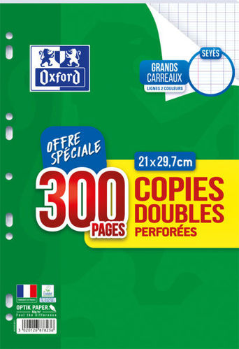 Copies doubles 21x29.7 - Séyès - Perforées - 300 pages