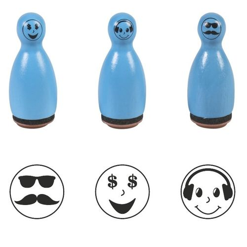 "Lot de 3 Tampons Pions ""Smiley"" - Bleu"