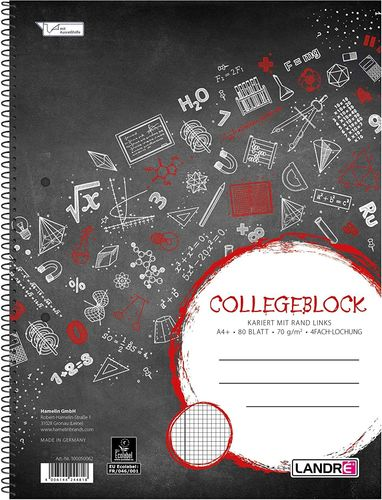 "Collegeblock ""college"", A4, quadrillé+marge, 160 pages"