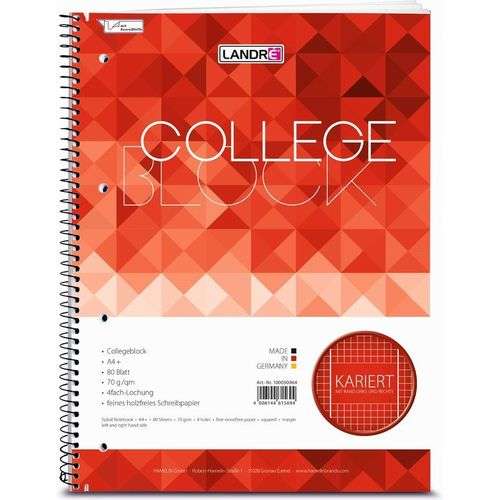 "Collegeblock ""college"", A4, quadrillé+2 marges, 160 pages"